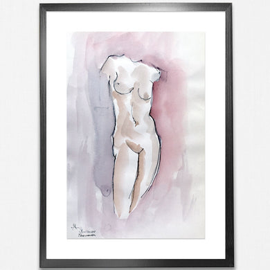 1970s Original Watercolour - Nude Torso