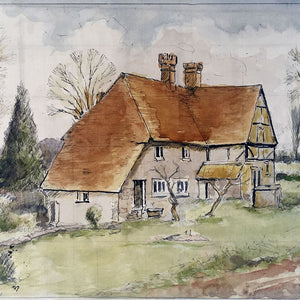 Sussex Cottage Vintage Watercolour - 1972