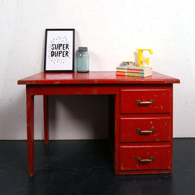 Children's Small Red Wooden Desk