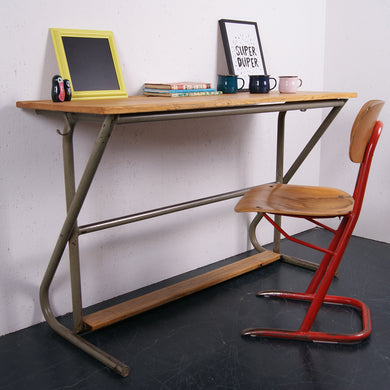Children's French double desk with grey metal frame