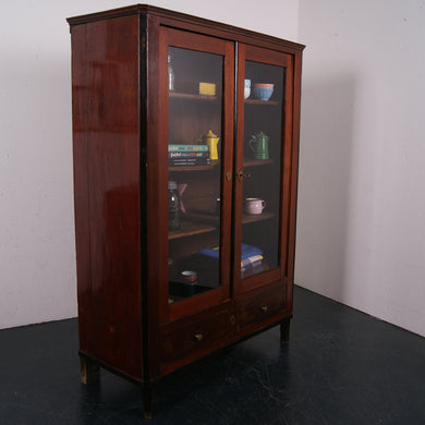 Wooden Cabinet with Glass Doors and Ebony Trim
