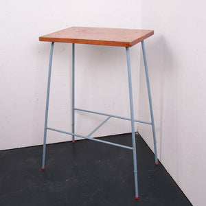 Blue Metal Legged Side Table with Wooden Top