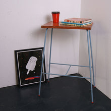 Load image into Gallery viewer, Blue Metal Legged Side Table with Wooden Top