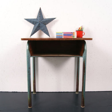 Children's French Green Metal Legged Single Desk with Shelf