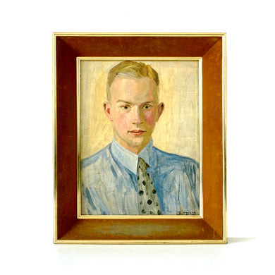 1930s Portrait Oil Painting 'Man With Polka Dot Tie'