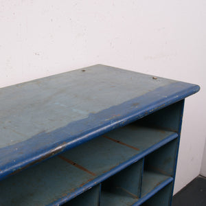 Blue metal industrial storage unit