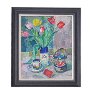 Mid Century Still Life - 'Tea and Tulips,' Karl Enoch Ohlsson