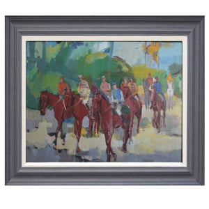 1960 Oil Painting - 'Race Day'