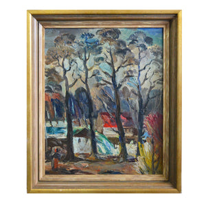 Mid Century Oil - 'House in the Woods' by Jules Schyl