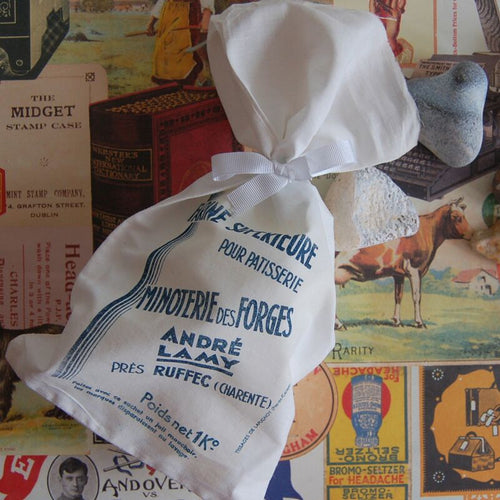 Vintage Linen Flour Bags - Bundle of 5