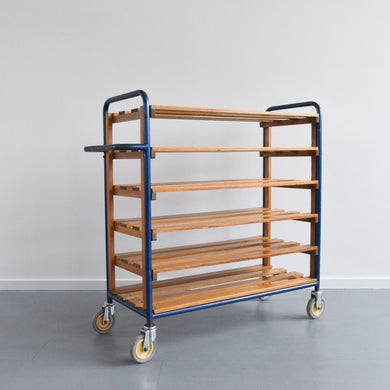 Vintage Metal Baker's Trolley with Wooden Shelves
