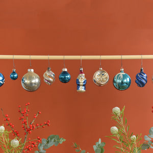 Set 13 - Vintage Set of 12 Assorted Boxed Glass Christmas Tree Baubles / Ornaments