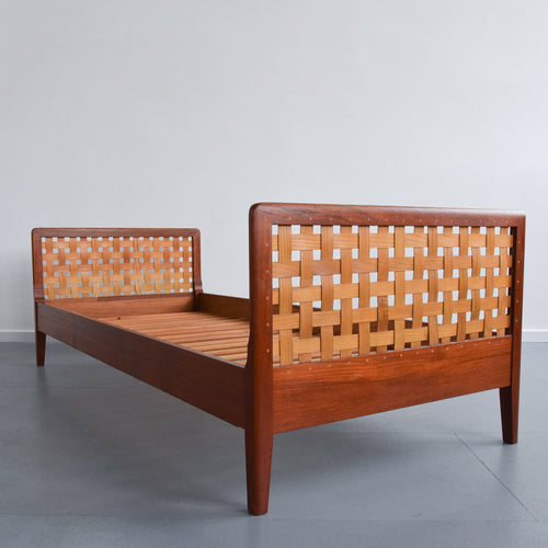 Vintage Mid 20th Century Teak Single Bed with Woven Veneered Head and Foot Board