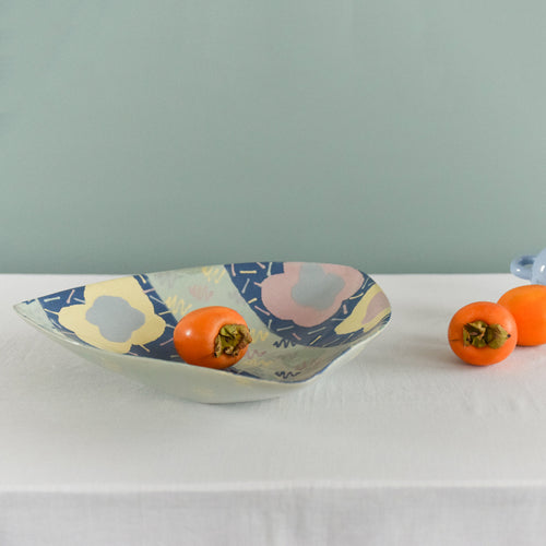 Vintage Contemporary 1980s Ceramic Studio Pottery Serving Bowl / Platter