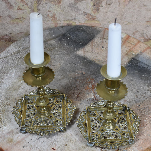 Antique 1880s Arts & Crafts Townshend & Thompson Brass Candlesticks Pair