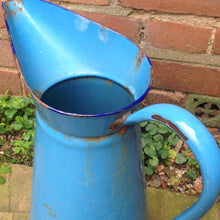 Load image into Gallery viewer, Bright Blue Vintage Enamel Jug