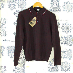 1970s Two-Tone Vintage Burgundy Polo Shirt - Medium