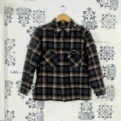 Vintage Pendleton Shirt with Loop Collar - Dark Check