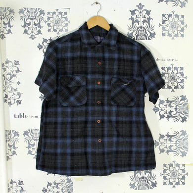 Vintage Pendleton Dark Check Short Sleeved Shirt