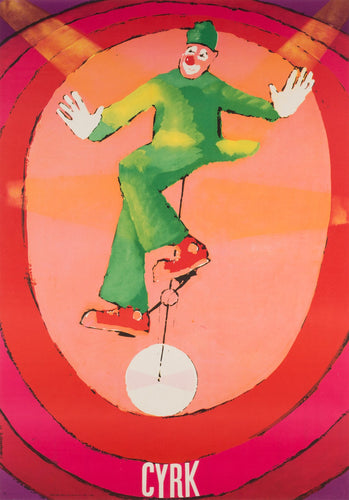 Unicycle Clown 1971 Polish CYRK Poster