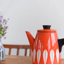 Load image into Gallery viewer, Vintage 1960s Arne Clausen for Cathrineholm Red and White Lotus Design Enamel Kettle