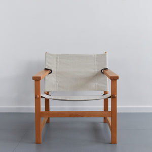 Vintage Danish Hyllinge Mobler Beech and Canvas Sling Lounge Chair
