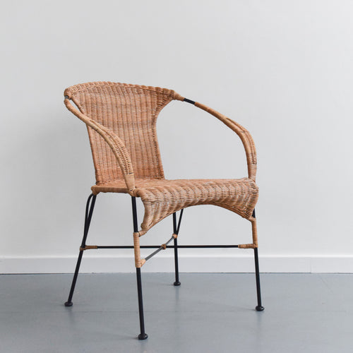 Vintage Bamboo and Cane Wicker Chair on Metal Legs