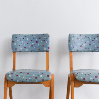 Vintage Pair of Wooden Chairs with Original Blue Patterned Vinyl Fabric by Esavian