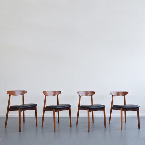 Vintage Set of Four Harry Ostergaard for Randers Mobelfabrik Model 59 Danish Teak Dining Chairs