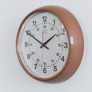 Vintage Bronze / Brown Coloured Torpey Controls Canadian Round Wall Clock