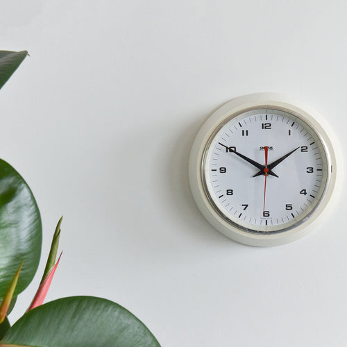 Vintage Small Round White Smiths Wall Clock