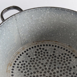 Vintage Large French Rustic Black Enamel Colander