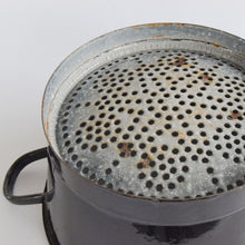Load image into Gallery viewer, Vintage Large French Rustic Black Enamel Colander