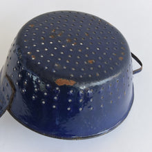 Load image into Gallery viewer, Vintage Small French Rustic Blue and White Enamel Colander
