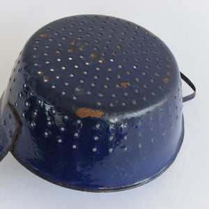 Vintage Small French Rustic Blue and White Enamel Colander