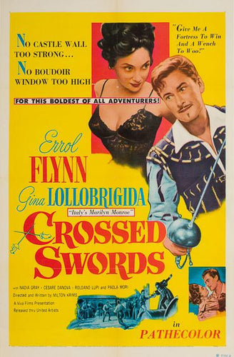 Crossed Swords 1953 original vintage US 1 sheet film movie poster - Errol Flynn