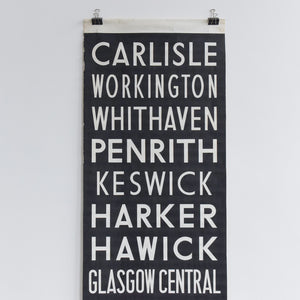 Vintage Very Large Cumbrian / North West Original Bus Scroll Banner