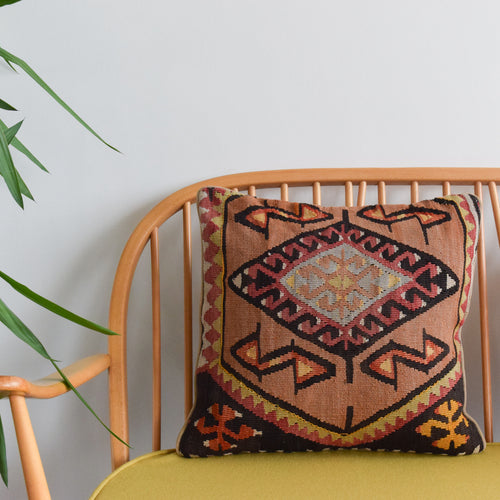 Vintage Wool Kilim Cushion With Duck Down Feather Insert