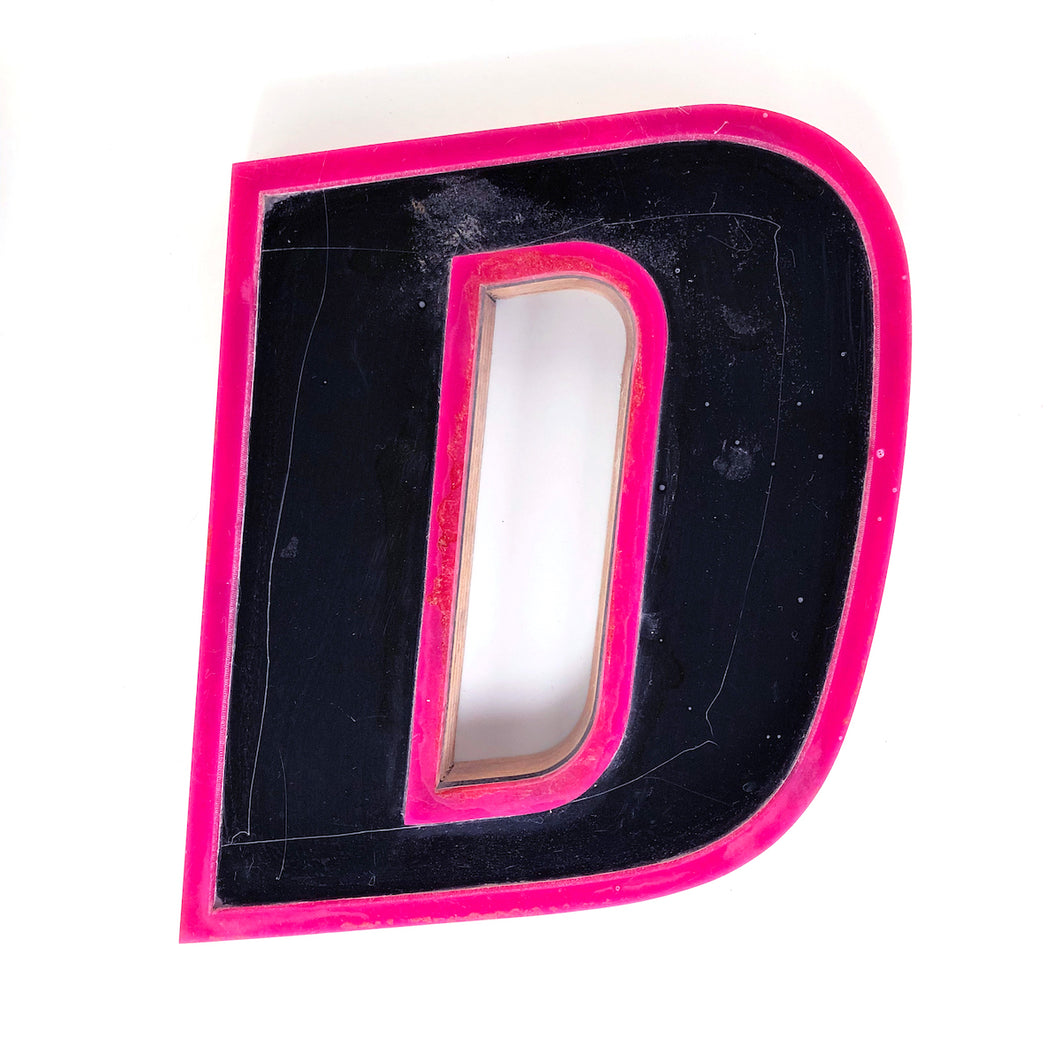 D - Medium Factory Shop Letter Ply Wood & Perspex Pink & Black