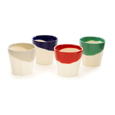 Classic Dipped Earthenware Espresso Cups - Set of Four