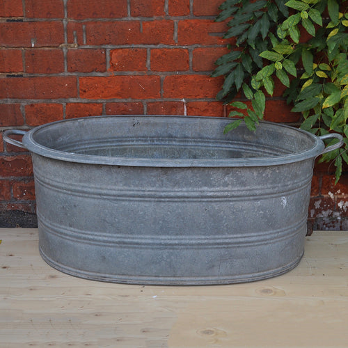 Vintage Galvanised / Zinc Deep-Sided Oval Bath No1