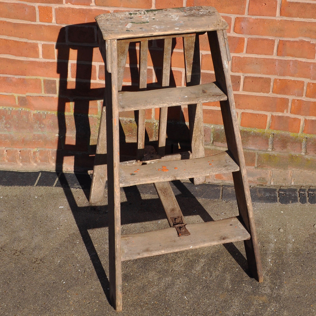 Antique Wooden Folding Step Ladder