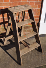 Load image into Gallery viewer, Antique Wooden Folding Step Ladder
