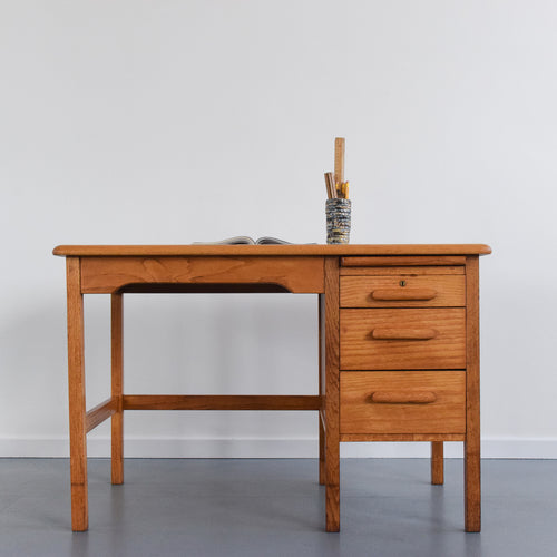 Vintage Small Traditional 1950s Oak Desk by Abbess