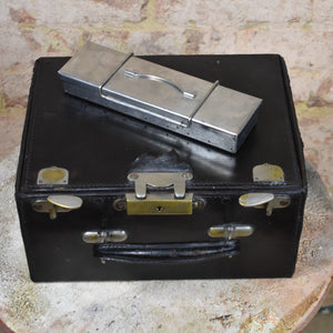 Vintage Leather Medical Doctors Case Bag with Chrome Instruments