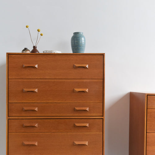 Vintage 1960s Oak 6 Drawer Stag Concord Chest of Drawers by John & Sylvia Reid
