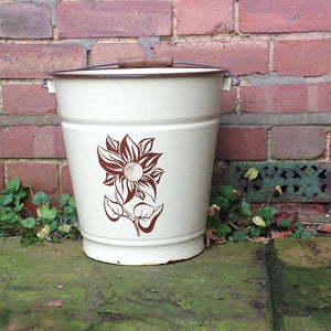 Dutch Cream Enamelware Vintage Bucket
