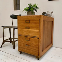 Load image into Gallery viewer, Mid Century Solid Oak Filing Cabinet