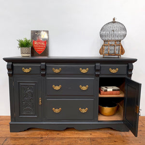 Original Early 20th Century Large Sideboard in Off Black