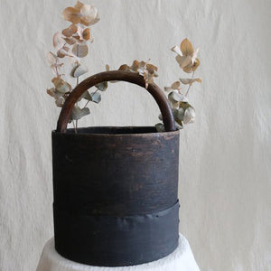 ANTIQUE WOODEN COAL BUCKET